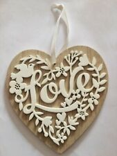 Heart Wooden Hanging Laser Cut Love Valentine Engagement Wedding Anniversary