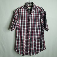 Orvis Mens Navy Blue Red Plaid Button Front Short Sleeve Shirt Size Medium N321