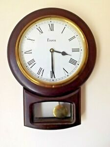 DROP CASE PRIORY WALL CLOCK QUARTZ MVT WITH PENDULUM ACTION SOLID WOOD. ENGLAND