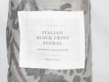 Restoration Hardware Italian Block Print Floral Standard Sham Fog Gray New