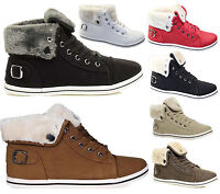 WOMENS LADIES FUR LINED WINTER ANKLE HIGH TOP WARM BOOTS TRAINER GRIP SOLE SHOES