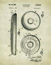 Frisbee Disc Golf Motivational Patent Poster Art Print Flying Discs Bag PAT250
