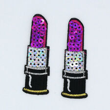 2PC Purple Lipstick Sequin Embroidered Cloth Iron On Patches Sew Motif Appliques
