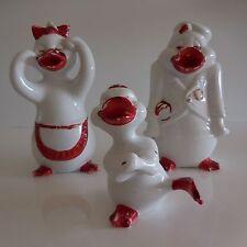 Figurines statues canards en céramique faïence porcelaine art-déco populaire