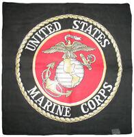 "22""x22"" Black USMC Marine Marines Seal Bandana Bandanna"