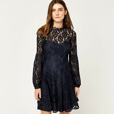 WAREHOUSE DRESS NAVY BLUE  LACE SKATER High Neck  Sz 14 NEW