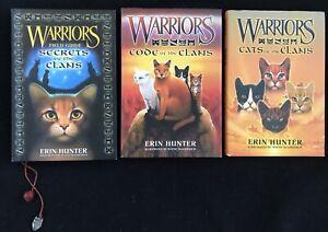 3 NICE Erin Hunter HB Warriors Field Guide,Secrets,Code,Cats of the Clan
