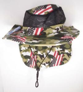 hat cap wide brim legionnaire neck sun block army camo US flag mesh air flow