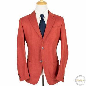 CURRENT Brioni Red Silk Cashmere Hopsack MOP Patch Pkts Unstructured Jacket XL