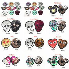 Funny Skull Head Heart Reversible Sequins Sew On Patches For Clothes DIY Patch