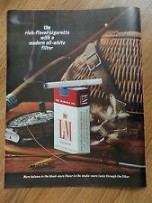 1964 L & M Cigarette Ad Flying Fishing Theme Rod Reel Flys Creel