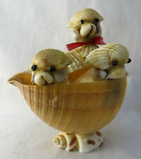 """Vintage Sea Shell Souvenir Figurine Hand Crafted Animals Hiding in Shell 4"""""""