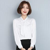 2019 Women Chiffon Long Sleeve OL Formal Shirt Blouses Bowknot Silk Tops Fashion