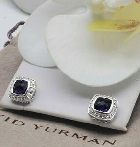 David Yurman Sterling Silver petite Albion w/ Amethyst & Diamonds stud Earrings