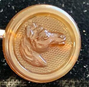 Antique Horn Horse Head Button