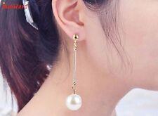 Handmade Womens Imitation Pearl Ear Stud Pearl Long Dangle Earring