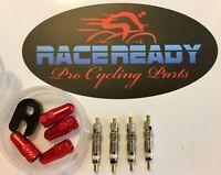 4 RaceReady..Presta Valve Cores + 4 Alloy Caps + Valve Core Tool + Container.MTB
