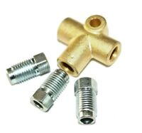 """3 Way Brake T Piece Tee With 3 Male Nuts Long Union 3/8 """" UNF 24 TPI 3/16 Pipe"""