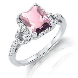 Large Emerald Pink CZ Sterling Silver Ring Size 4 - 12