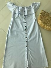 ZARA SS18 OFF WHITE OFF SHOULDER MIDI DRESS WITH BUTTONS L