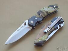 BROWNING CAMO HANDLE LINER-LOCK FOLDING POCKET KNIFE WITH POCKET CLIP