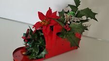 Vintage Christmas Red Metal Mailbox with Poinsettia, Greens and Bow