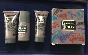 Vingtae AVON Traveling Trios Black Suede Set Shower Gel Deodorant After Shave 49