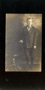 RPPC Vintage early 1900s Postcard child in a suit Barron Trump doppleganger WOW