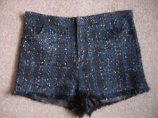 AD LIB talla 12 (más como 10) Negro Marina Plata Forrado Fiesta De Verano Shorts