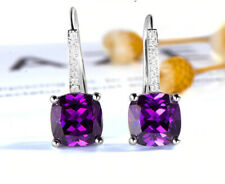 2.50Ct Cushion Cut Amethyst Drop & Dangle Women's Earrings 14K White Gold Finish