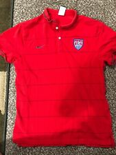 NIKE Coaches Navy Red Hoop pinstripe Polo 2014 World Cup USA Soccer USMNT