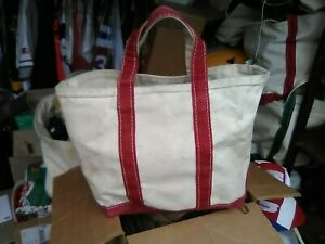 Vintage Med Red LL Bean Boat And Tote Canvas Bag Freeport Maine Missing Label