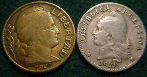1920 & 1947 20 CENTAVOS ARGENTINA***  NICE