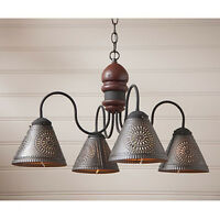 Cambridge Four-arm Wooden Chandelier Light with Tin Shades in Plantation Red