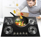30 Inch LPG NG Gas Cooktops Built-in 5 Burner Stove Hob Cooktops Tempered Glass  photo