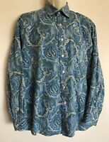 Alan Flusser Men's Button Front Short Sleeve Paisley Shirt Large