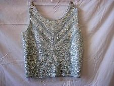 Stunning Blue Vintage Sequin & Bead Wool Evening Cocktail Party Top SZ Medium M