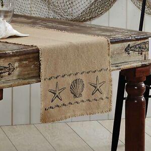 "VHC Brands Coastal 48""x13"" Seashells Table Runner Tan Sandy Kitchen Table Decor"