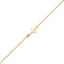 14K Solid Yellow Gold CZ Sideways Cross Bracelet Charm Rolo Chain Link Women Men