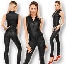 Damen Kunstleder Jumpsuit Overall S-XL Wetlook Hose Weste Röhre Skinny 19-B50 WT
