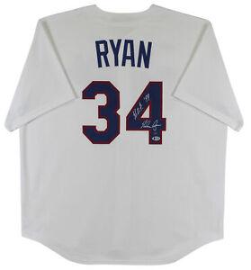 "Rangers Nolan Ryan ""HOF 99"" Signed Nike White Cooperstown Collection Jersey BAS"