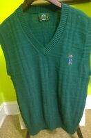 NICE Mens Jantzen Medium 100% Cotton V-Neck Sweater Vest Golf Green Made in USA