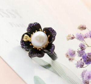 D10 Ring Pearl IN Dark Bloom 925 Sterling Silver Adjustable Size