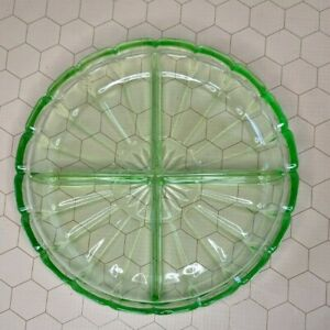 "7 1/4"" Uranium Vaseline Depression Glass 4 Segment Divided Candy Nut Bowl Dish"