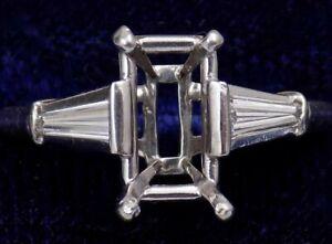 VINTAGE ~ PLATINUM & DIAMOND ~ ENGAGEMENT RING ~ SEMI MOUNT for EMERALD CUT