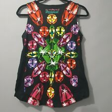 Desigual Size M Designer Printed Sleeveless Top With Jewel Embellishment BNWT