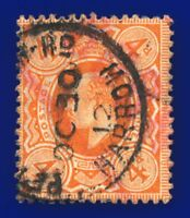1911 SG286 4d Deep Bright Orange M27(2) Fair Used Harrow OC 30 12 cvFU £18 ancg