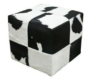 Indian Handmade genuine Pure Black and White Hairy Leather Pouf Designer Stool