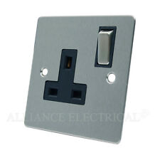 Brushed Matt Satin Chrome Flat Socket 1 Gang - 13 Amp Single Plug Outlet Point