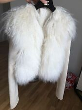 John Richmond Femmes Lama Fourrure Veste, Taille 8 (S) RRP £ 1800